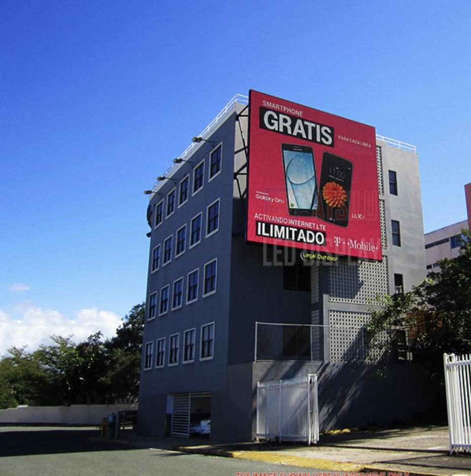 Led scherm aan gebouw
